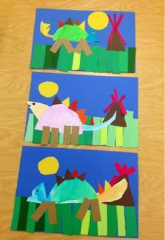 Kindergarten dinosaurs-shapes-cut and glue-Art with Mr. Giannetto