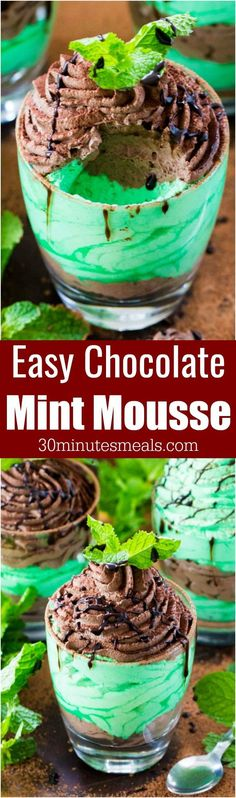 Chocolate Mint Mousse made with just a few ingredients is a flavorful and creamy take on the classic, more labor intensive mousse. #chocolate #mint #mousse #nobake