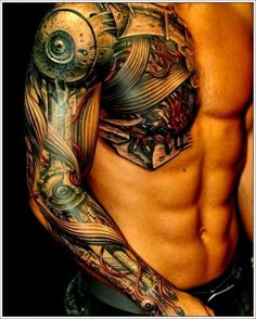 biomechanical sleeve tattoos