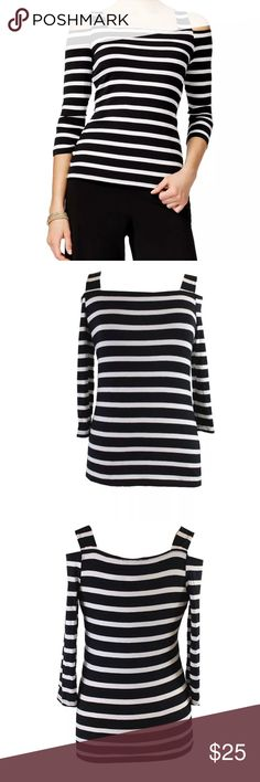 INC cold shoulder top size large black white INC cold shoulder top. Size large. Black and white stripes. Worn once. Excellent condition. INC International Concepts Tops Blouses