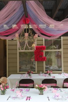 Hannah Larkins-Look at the ceiling!!!Princess Party Decor, Chandelier