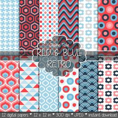 """Retro geometric digital paper: """"RED & BLUE RETRO"""" with retro geometric patterns, triangles, honeycomb, circles, polka dots, houndstooth"""