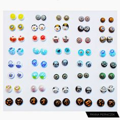 Panna Pierniczek: Mix Millefiori, earrings, ear, summer, fusing, fused