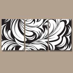 DAMASK Wall Art Canvas Artwork Swirl Flourish Design Black White Set of 3 Prints Decor Bedroom Bedding Bathroom Three