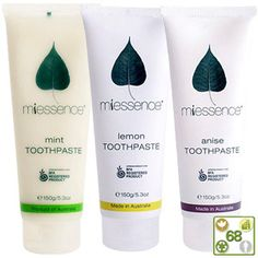 Miessence Toothpaste Cleanse and brighten your teeth naturally. Organic essential oils and herbs freshen your breath and maintain healthy teeth and gums. All three varieties are free from fluoride, aluminum, artificial sweeteners or detergents.