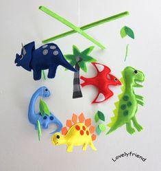 Mobile -Baby Crib Mobile - Baby Mobile - Crib mobiles - Felt Mobile - Nursery mobile - Dinosaur and Coconut Palm Tree Design via Etsy Boy Mobile, Baby Mobile Felt, Baby Crib Mobile, Baby Crafts, Felt Crafts, Deco Kids, Dinosaur Nursery, Baby Dinosaurs, Tree Designs