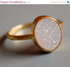 SALE White Druzy Ring  Oval Shaped Ring  Natural Geode by OhKuol, $52.70