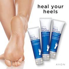 Avon Foot Works Deep Moisturizing Cream helps heal dry skin with moisturization. Skin Tags On Face, Avon Online, Foot Cream, Feet Care, Skin So Soft, Bath And Body, It Works, Moisturizer, Shopping