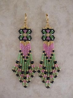 Seed Bead Beadwoven Earrings  Pink/Green  Free by pattimacs, $22.00