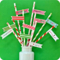 50 Christmas Mix Paper Straws with Printable DIY Flags by HeyYoYo on Etsy