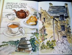 Sketch Book I'm always in awe of people who can draw their tea before they eat. I eat it and then wish I'd sketched! - Tea and scone and a sloooow sketch -took me over an hour for this - really trying to slow down and relax! Sketch Journal, Artist Journal, Art Journal Pages, Art Journals, Travel Journals, Voyage Sketchbook, Travel Sketchbook, Watercolor Sketchbook, Art Sketchbook