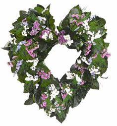 Dried Beautiful Flower Heart Wreath Size: 22 inch Indoors Only: Yes Handmade Wreath: Yes Wreath Made with: * Preserved Salal * Preserved Tree Fern * Preserved Sinuata Statice * Blue Larkspur Wheat Decorations, Straw Decorations, Dried Flower Wreaths, Dried Flowers, Old Fashioned Love, Indoor Trees, Dried Flower Arrangements, Wreath Hanger, Valentine Wreath