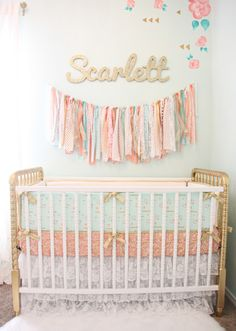 Coral, Mint and Gold Girl's Nursery - gold Jenny Lind crib with bedding is a match made in heaven! Pastel Nursery, Mint Nursery, Gold Nursery, Vintage Nursery, Bedroom Vintage, Nursery Themes, Nursery Decor, Nursery Ideas, Room Ideas