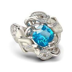 Cushion Cut Aquamarine Rhodium Plated Sterling Silver Women's Mermaid Engagement Ring