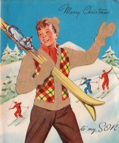 1940s Merry Christmas To My Son Vintage Christmas card