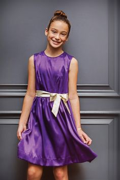 Tween girl dressing for the holidays!  Sally soiree dress in amethyst satin #preppy #missbtween