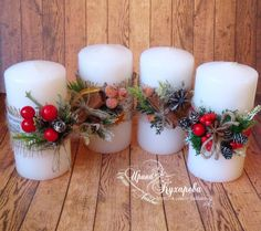 творения Ирины Кухаревой Christmas Table Centerpieces, Christmas Candles, Diy Christmas Ornaments, Xmas Decorations, Christmas Projects, Handmade Christmas, Christmas Wreaths, Christmas Crafts, Natural Christmas