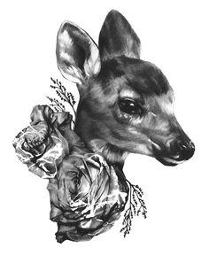 Fawn & Flora  No.1   Print BW 8.5x11 Illustration Art by RADCASTLE, $24.00