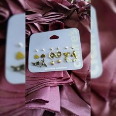 🎉 3/$15  9 pairs of Claire's earrings Claire's sensitive solutions earrings 2 different sizes of silver and gold ball studs 2 different sizes of clear stone studs Gold hearts Antique gold flowers Antique gold humming birds Antique gold w/crystal dragonflies Claire's Jewelry Earrings