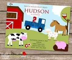 FARM Birthday INVITATION with Little Blue by littlebirdieprints, $15.00