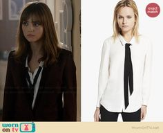 Clara's white shirt with black tie on Doctor Who. Outfit Details: http://wornontv.net/36951/ #DoctorWho