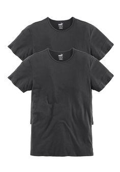 Perfektes Basic-Shirt von Puma - passend für jeden Tag. Ideal zum Drunterziehen. Im praktischen 2er Pack. Schmales Piping am Rundhalsausschnitt. Mit Puma-Druck am Saum.  In gewohnter TOP Markenqualität: 100% Baumwolle....