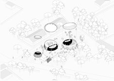 The required program elements have been placed around the site with the left over space given to the community as play areas for the children. This allows for the site to be continually activated and become a place for all ages to interact, gather and engage with storytelling. ⠀⠀ Each proposed building is anchored by a water storage unit, providing the surrounding public space with water. #the_yap #thebna #archolution #kntxtr #kairalooro #betaarchitecture #architrendz #oxxarchitecture… Axonometric Drawing, Water Storage, Cultural Center, Line Drawing, Storytelling, Play Areas, How To Become, Culture, Drawings