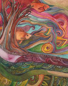 Forest Dwellers original watercolor by Megan Noel by meinoel, $75.00