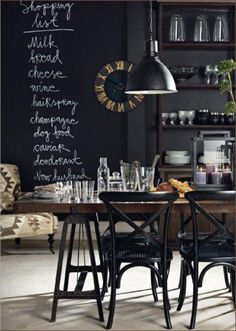 Kitchen: chalkboard wall - Could be a cool DIY cupboard door too!
