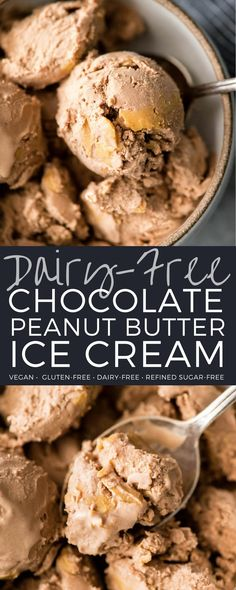 This Dairy-Free Chocolate Peanut Butter Ice Cream is made with 6 good-for-you ingredients and takes 5 minutes of hands-on prep time! It's ultra rich and creamy, and no one would ever guess that it's dairy-free! #vegan #dairyfree #icecream #chocolatepeanutbutter #chocolate #peanutbutter #healthy #recipe #homemade #vitamix @vitamix