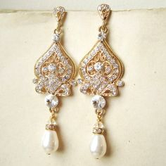 GOLD Bridal Earrings Gold Chandelier Wedding by luxedeluxe on Etsy, $68.00