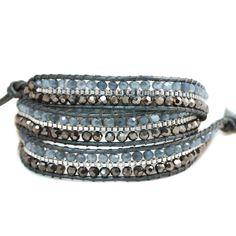 Nakamol Leather Wrap Bracelet (Blue and Grey)