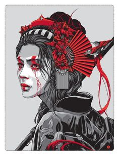 Female warrior black white and red gigposter