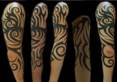 The Unique Tribal Tattoo on Sleeve: Spiral Tribal Tattoo Design On Sleeve ~ lookmytattoo.com Sleeve Tattoos Inspiration