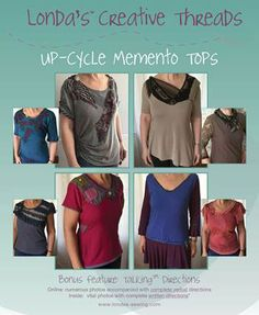 Re-cycle, Up-cycle T's and other clothing into great women's tops. Sewing pattern online immediate delivery. https://www.etsy.com/listing/259039967/up-cycle-re-cycle-re-purpose-knit-t?ref=shop_home_active_21
