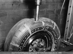 Car tires, 1958 	    Car tires, 1958  After this tire was inflated to its normal pressue, a 1 1/4-inch steel plunger was forced into it to test the toughness of the tire.