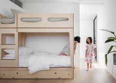 INSPIRATION: designed this modern Bronte family home to have the twins room close to their room, but catered for long term family living with seperate bedrooms and study nooks downstairs. See more of this home I Photography by Childrens Bedroom Furniture, Kids Furniture, Minimalist Furniture, Minimalist Home, Engineered Timber Flooring, Kids Bunk Beds, Grey Room, Kid Spaces, Small Spaces
