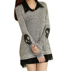 Women's Skull Printed Sweater Pullover + Chiffon Tank - Shops Hive