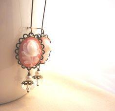Soft Pink Wedding Jewelry Flower Long Earrings #cameo #pink #earrings