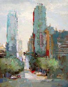Atlanta Shapes - Barbara Flowers...abstract city scape painting
