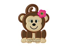 Monkey Girl - Cute Girl Monkey Applique - Instant EMAIL With Download - 3 sizes - for Embroidery Machines