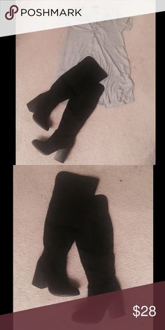 Knee high faux suede boots (black) These knee high faux suede boots are perfect for fall! They are a bit wider in the calf, almond shape toe, and a chunky heel! Never worn before, brand new! I am 5'3 and they go above my kneecap just a bit! Charlotte Russe Shoes Over the Knee Boots