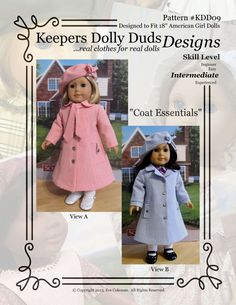 PDF Pattern #KDD-09 Coat Essentials with two views.  An ORIGINAL KeepersDollyDuds DESIGN!   KeepersDollyDuds has partnered with well known