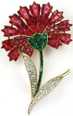 Trifari Alfred Philippe Gold Pave and Invisibly Set Emeralds and Rubies Carnation Flower Brooch. High Jewelry, Jewelry Art, Antique Jewelry, Vintage Jewelry, Fashion Jewelry, Vintage Costume Jewelry, Vintage Costumes, Rhinestone Jewelry, Flower Brooch