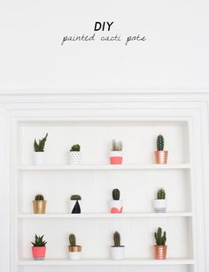 diy painted cacti pots.