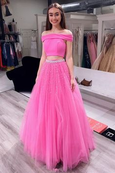 5b86c8214e Off Shoulder Two Piece Tulle Pink Teens Prom by PrettyLady on Zibbet High  Low Prom Dresses