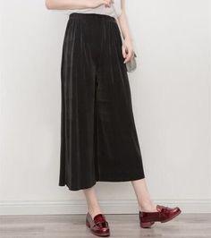Summer palazzo pants Women's pleated wide leg pants cropped trousers 3 color high waist loose pant women pantalon femme pantolon