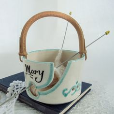 Personalized White Ceramic Traveling Cane Handle Yarn Bowl by BlueRoomPottery | BlueRoomPottery... plus (+)