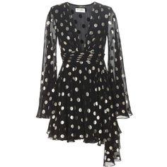 Saint Laurent Metallic Silk-Blend Dress (376.810 RUB) ❤ liked on Polyvore featuring dresses, black, yves saint laurent dress, yves saint laurent, metallic cocktail dress and metallic dress
