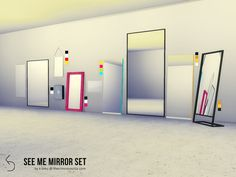 "sssvitlans: "" Created By k-omu See Me Mirror Set Created for: The Sims 4 Set contains: Backsplash Mirror - Shiftable, one swatch. Perfect behind kitchen counters. First Aid Cabinet Mirror - Shiftable, two swatches (white, black). Frosted glass finish..."